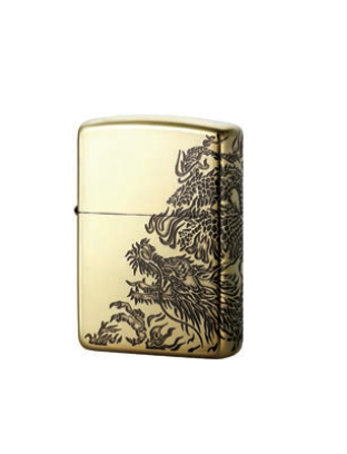 Zippo Lighter Oxidized Brass Plating with etch Dragon Gold (ZBT-3-17A)