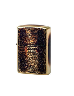 Zippo Lighter Oxidized Gold Plating with Etch in Serial number (ZBT-3-