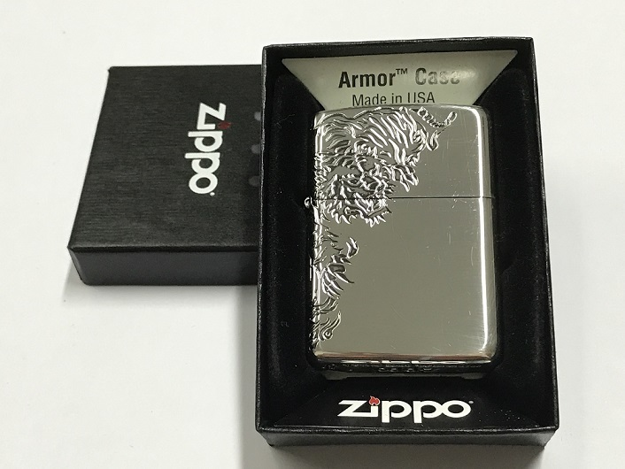 Zippo Lighter Oxidized Plating with Etch and Engrave Tiger 2 (ZBT-3-18