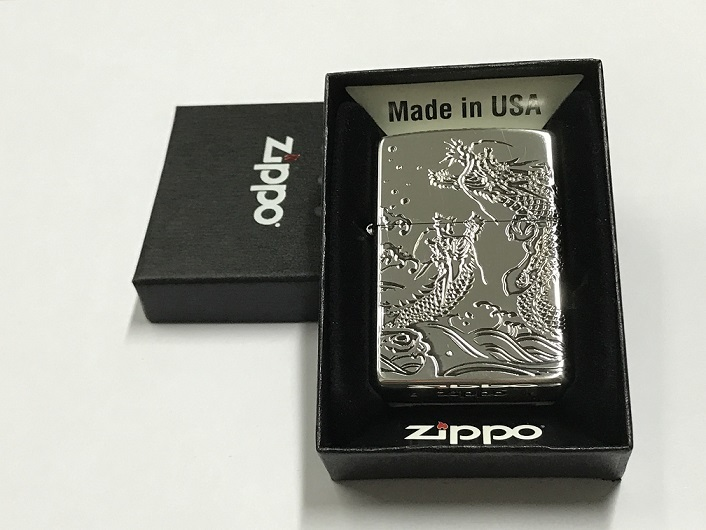 Zippo Lighter Oxidized Silver Plating with Etch  Dragon (ZBT-3-39C)