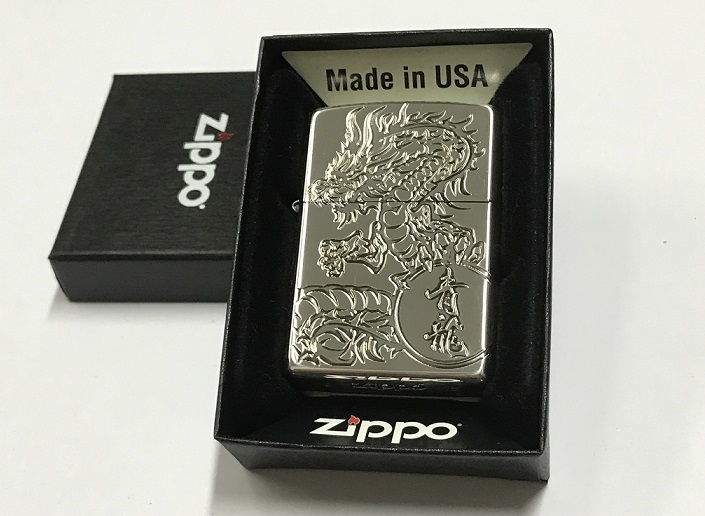 Zippo Lighter Oxidized Silver Plating with Etch Green Dragon (ZBT-3-26..