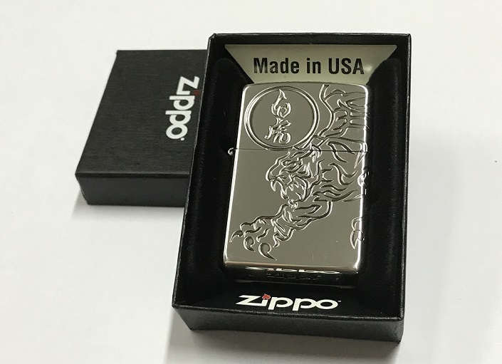 Zippo Lighter Oxidized Silver Plating with Etch White Tiger (ZBT-3-25C
