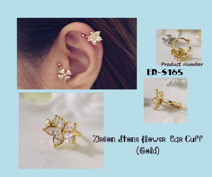 Zircon Stone Flower Gold Ear Cuff Earrings