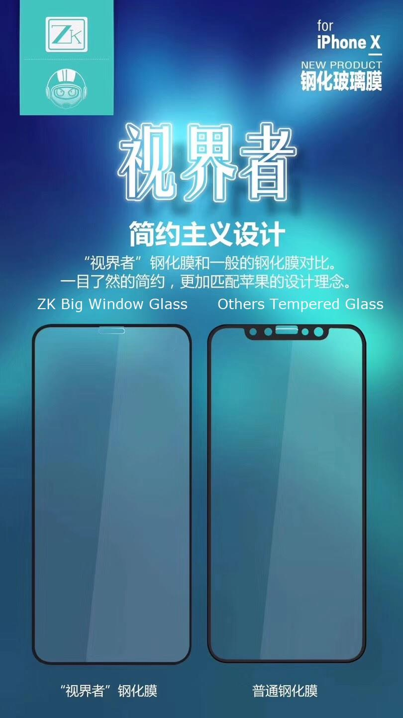 ZK Big Window iPhone X 3D Real Full Screen Coverage Tempered Glass SET