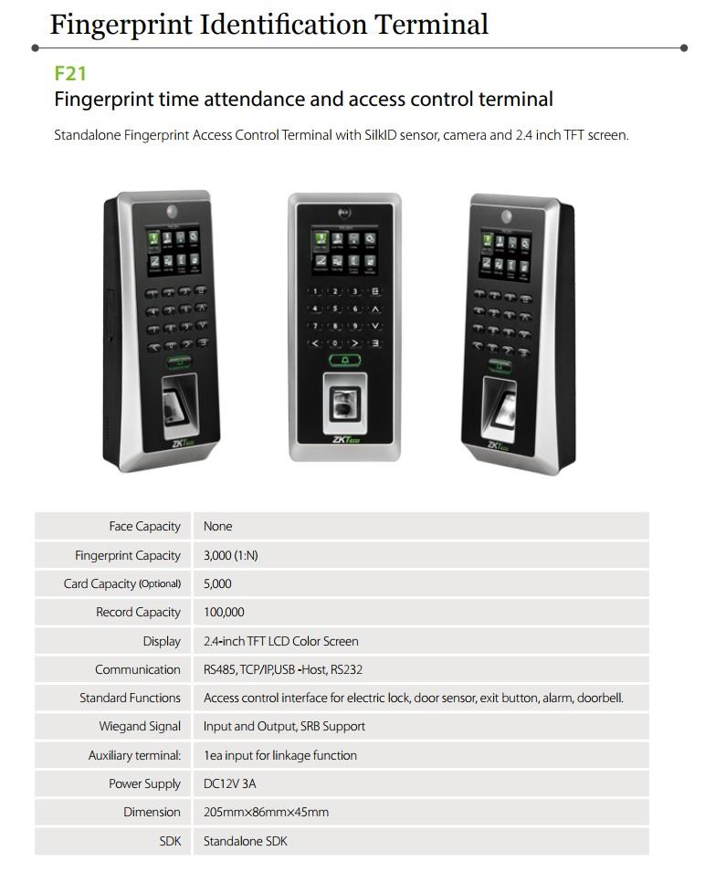 ZK F21-LITE/MF Fingerprint Door Access 2.4 inch Reader Controller