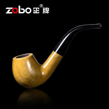 ZOBO Green sandalwood bent smoking tobacco pipe with filter element