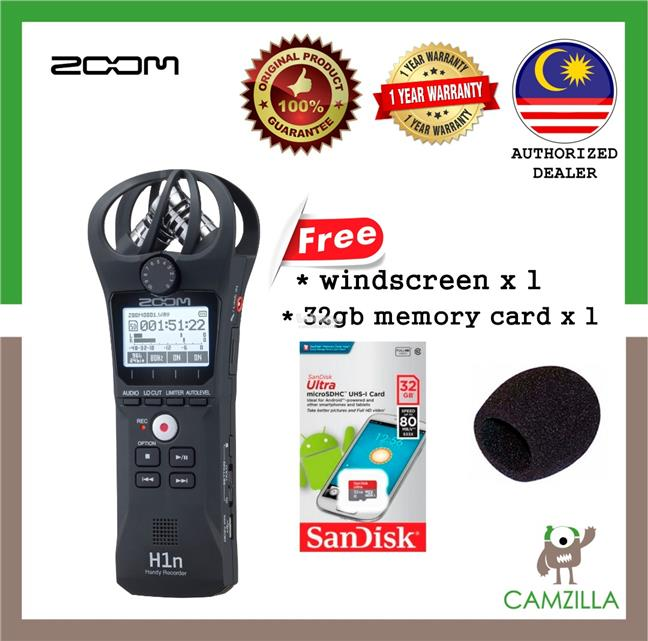 Zoom H1n Digital Handy Recorder ***(FREE windscreen, 32gb memory card)