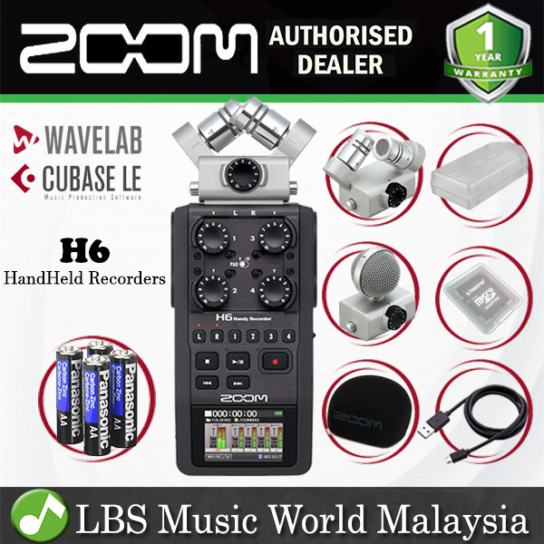 Zoom H6 Handy Recorder Field Recording Mic System and USB Audio Interface  (H6N