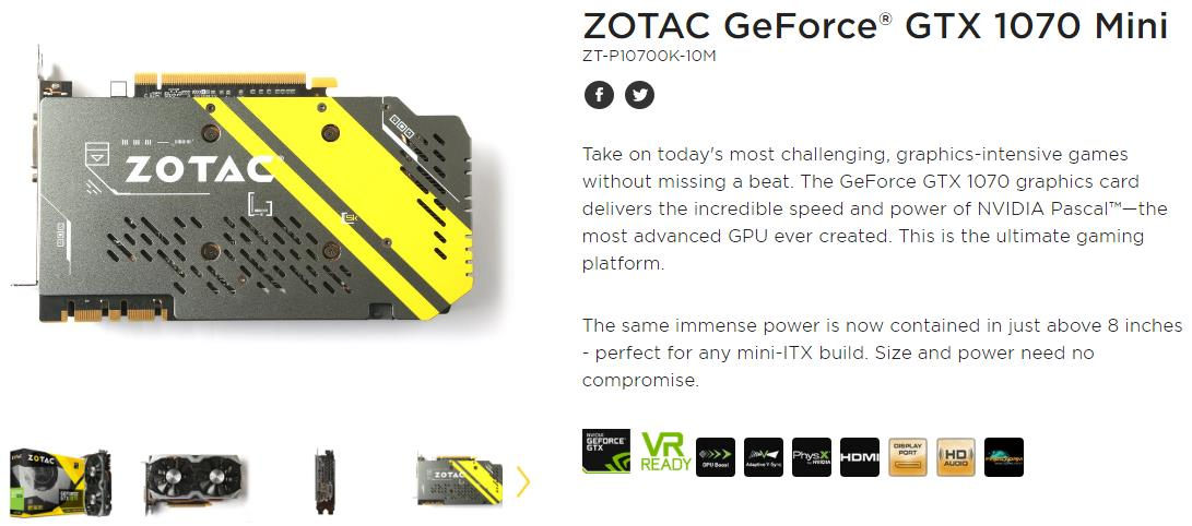 # ZOTAC GeForce® GTX 1070 Mini # 1708 MHz | 8G/D5
