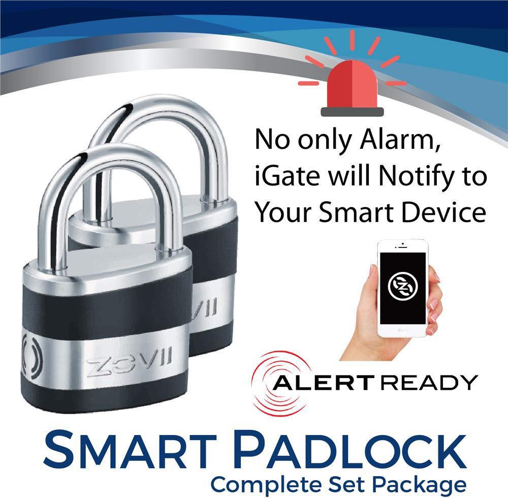 ZOVII Smart Alarm Padlock ZPL10i Security Lock Set Package x2