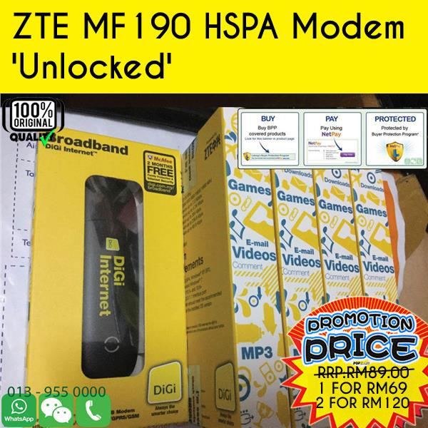 ZTE MF190 HSPA Modem 'Unlocked' 1pcs FOR RM69 @ 2psc FOR RM120