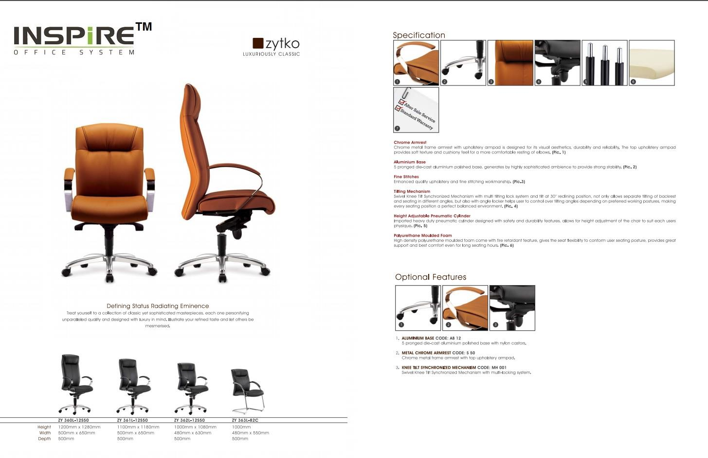 Zytko Series P.U Leather High Back Office Chair