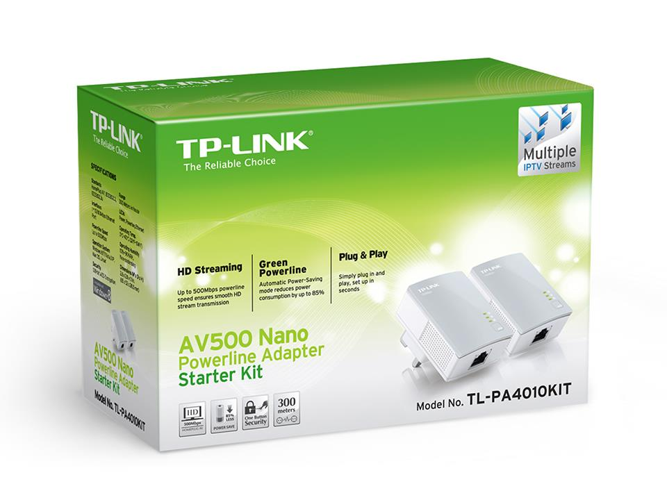 TP-LINK AV500 Powerline Adapters, TL-PA4010KIT (Single / Kit / Triple)
