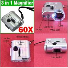 1 pc Mini 60X Pocket Microscope Loupe LED UV Light Magnifier