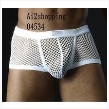 04534Men's super sexy high elastic mesh  fun boxer underwear briefs