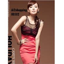 Korean cotton yarn mixed colors sexy Slim thin dress00502