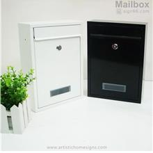 Tenuous Basic Powder Coated Metal Mailbox Black / White Letterbox