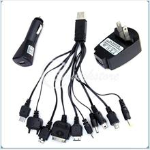 1 set 10 in 1 multi charger with wall plug and car plug - usb-iphone/i