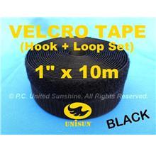 "GRADE AA VELCRO TAPE NON-Adhesive BLACK 1"" x 10m Hook & Loop Set"