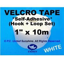 "GRADE AA VELCRO TAPE Self-Adhesive WHITE 1"" x 10m Hook & Loop Set"