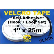 "GRADE AA VELCRO TAPE Self-Adhesive BLACK 1"" x 25m Hook & Loop Set"