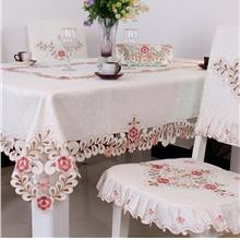 "90x60"" Fabric Tablecloth ―White.Tri- Flower.6-8 seats.Alas Meja"