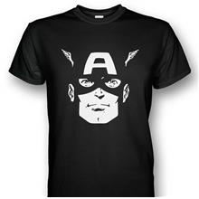 Captain America Face T-shirt Black
