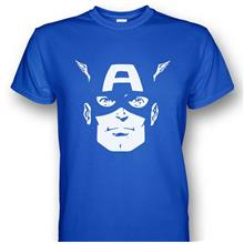 Captain America Face T-shirt Blue