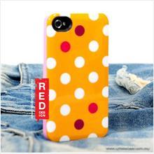 OSKAR Polka Dot Back Cover Case for iPhone 4 4s - Dark Yellow