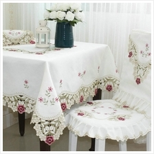 "90x60"" Fabric Tablecloth ―Ivory.Solitary Flower.6-8 seats.Alas M"