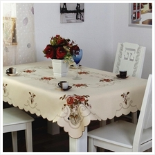 "90x60"" Fabric Tablecloth ―Cream.Scattered Flower.6-8 seats.Alas"