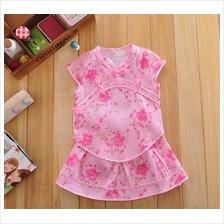 Girl's Fashionable Cheongsam Tang Skirt Set