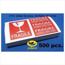 FRAGILE STICKER 4-in-1 BRIGHT RED SET 500 pcs. x 15cmx8cm ONLINE PROMO