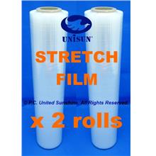 GRADE AA x 2 ROLLS STRETCH FILM 500mm Thin Core ONLINE PROMO Plastic