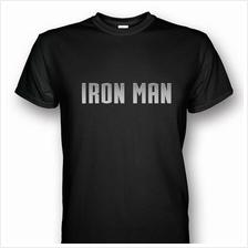 Iron Man Black T-shirt Silver Print