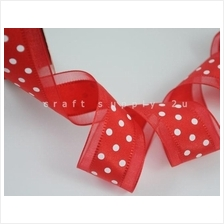 25mm Organza Ribbon Polkadot - 3 yards Red