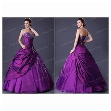 Bridal/Dinner Gown —Purple.Strapless.Wedding.Costume.Event.Dress—