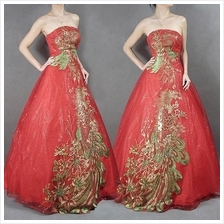Bridal/Dinner Gown—Phoenix Embroidery.Royal Red.Wedding.Costume.Dress—