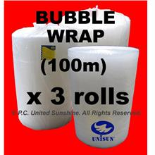 APRIL PROMO x 3 ROLLS BUBBLE WRAP GRADE A 1m x 100m Plastic Packing