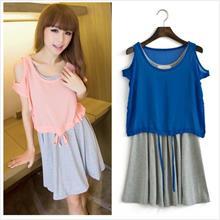 Korean style sweet two-piece dress casual loose chiffon blouse