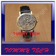 Gold Tone Skeleton Mechanical hand wind Men watch black leather