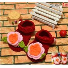 Red Handmade Baby Girl Flower Knitting Sandal