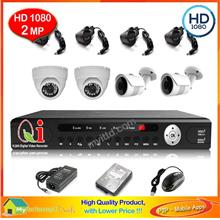 Qi Tech CCTV 4-CH HD DVR Recorder with IR Dome+Bullet Camera (W1-2D2L)