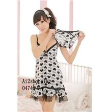 04742black white silk cotton LOVE the sexy suspenders nightdress