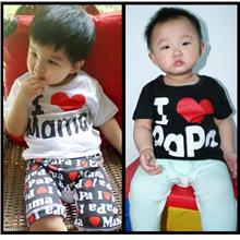 I ♥ Papa Mama Kids Shirt (Love.100% Cotton.Short-Sleeve.Children