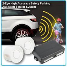 Universal 2-Eye Safety Reverse Parking Sensor System w/ Buzzer (White)