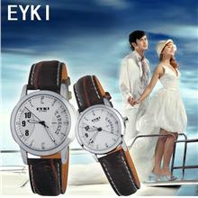 1 PAIR EYKI E-TIMES UNIQUE COUPLE Leather Watch W8408GL !