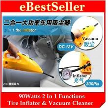 FREE GIFT + 2 in 1 Car Dual Function Tire Inflator wf Vacuum Cleaner)