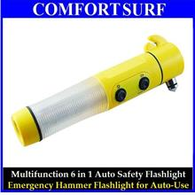 6 in 1 Car Emergency Survival Hammer Safety LED Flashlight Cutter tool