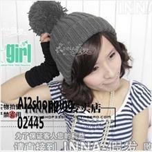 02445Korean snowflakes bunk oversized wool ball sweet wool cap